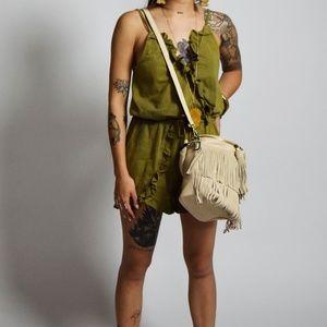 Handbags - Bucket Bag with Fringe Vegan Leathet